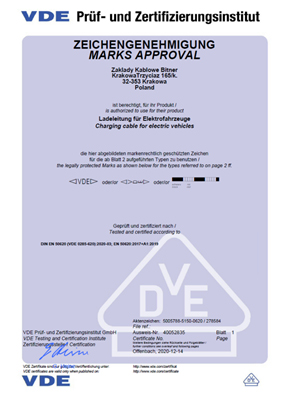 Certyfikat VDE potwierdzający zgodność kabli BiTcharger z normami DIN EN 50620