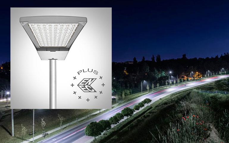 oprawa drogowa Tiara LED firmy Lena Lighting z certyfikatem Enec Plus